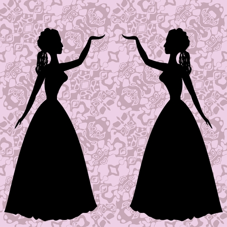 rococo style: Mirror silhouettes dancing women on ornamental background in rococo style Illustration