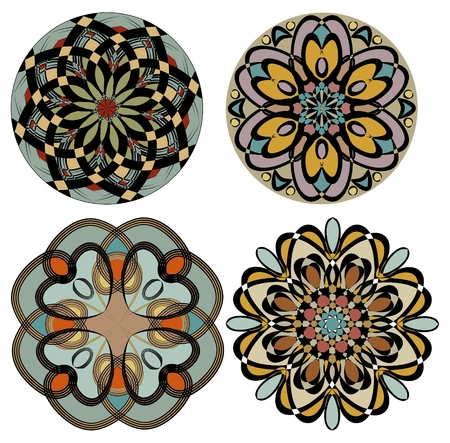 Collection of colored rosettes in nostalgic color art deco style. Symmetric geometric patterned circle. Vector