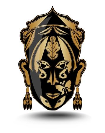 ritual: Gold ritual woman face, iconic mask, avatar Illustration