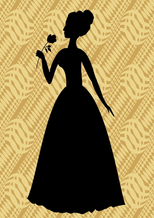 solemnization: Vintage vector silhouette of a woman with rose in hand on beige diagonal striped background Illustration