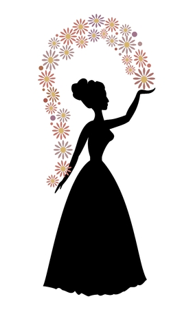 solemnization: Vintage vector silhouette of a woman throwing flowers, beautiful decorative motif Illustration