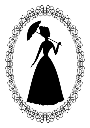 Vintage retro drawing with silhouette of rococo lady with umbrella in fine oval lace frame. Decoration for ball invitation or greeting. Illustration