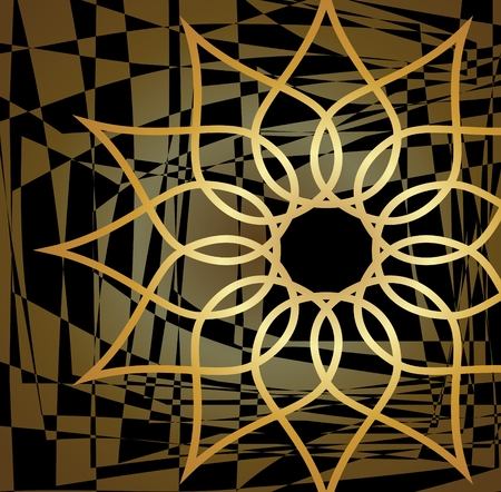 Modern vector background tile with cut out gold star on modern abstract element area