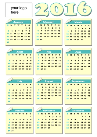 personification: 2016 year-round calendar with rolled paper tickets for each month, light yellow and green color, empty place for corporate or personification