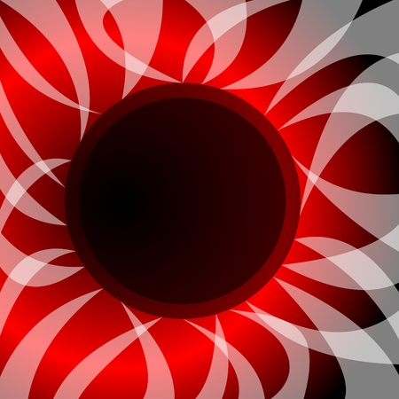 Abstract vector with theme solar eclipse. Wavy rays surround the black circle, in the background fiery glow Vector