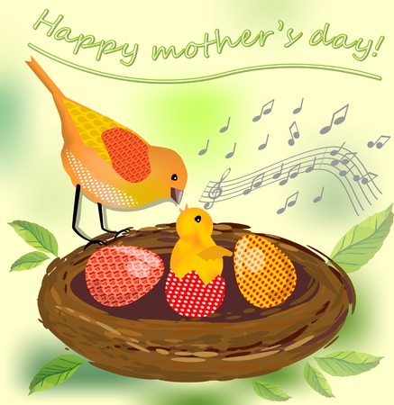Cute image mothers day, vector image with bird mother and her bird baby and colored eggs in the nest Vector