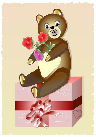 b day gift: Teddy bear with bouquet of roses sitting on a gift box. Cute birthday card for child.