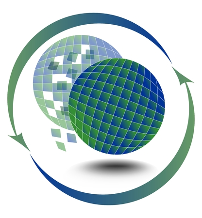 shards: Environmental motif with a globe and its silhouette, which is broken into shards
