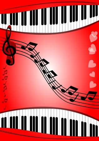 stave: Background with musical theme piano keyboard, stave, treble clef on red area with gradient. Suitable for a music program or the invitation to the Music Festival