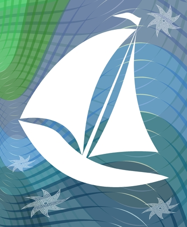Sail boat silhouette on abstract wavy background with starfishes Vector