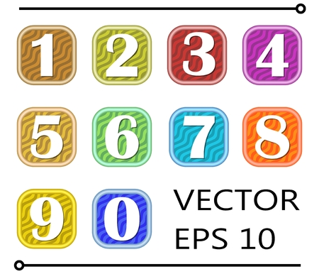 web 2 0: Set of artistic number label in different color on wavy background, for infographic template design
