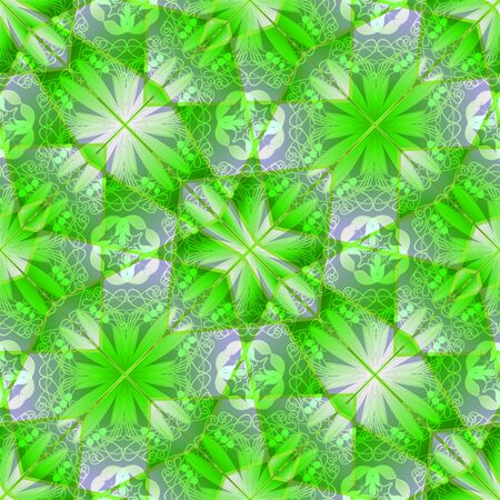 slantwise: Classic geometric floral patterns in vivid green Stock Photo