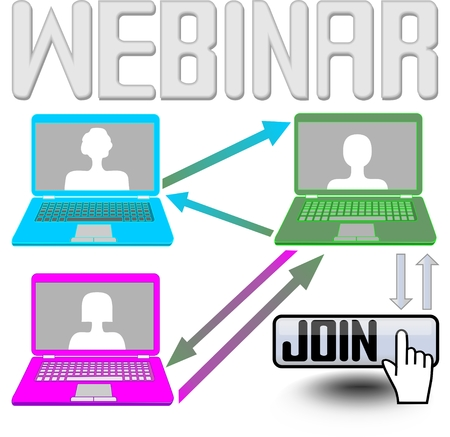 webcast: Join to internet learning with your netbook or pc, it is the most advanced method of training Illustration