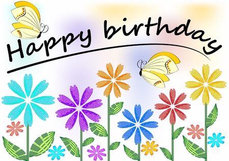 unobtrusive: Happy birthday poster with colorful flowers and butterflies, vector