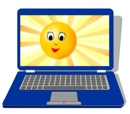 Laptop with cute sun face on display, EPS10 vector illustration Illustration