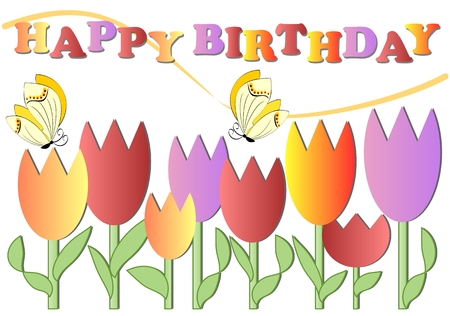 unobtrusive: Happy birthday poster with colorful tulips and butterflies, eps 10 vector
