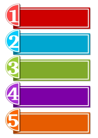 strip design: Infographic template for presentation of five options or steps with blank frames for own message in paper strip design, EPS10 vector