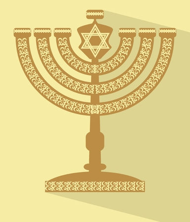 Jewish seven-branched candelabrum menorah with the Star of David, flat design vector illustration with long shadow, EPS 10