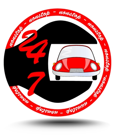 nonstop: Nonstop car service station with red car inside spanner, circle emblem suitable as logotyp, eps10 vector Illustration