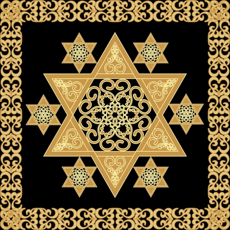 Star of David decoration tile with geometric vintage yew ornament in gold design, eps10 vector Vectores