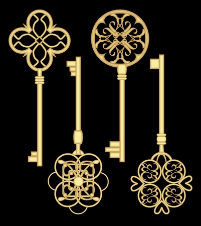 gold house: Antigue door key set in golden metallic design with historic ornamental vintage patterns. Illustration