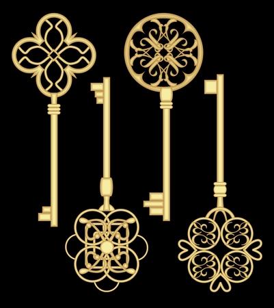 Antigue door key set in golden metallic design with historic ornamental vintage patterns. Illustration