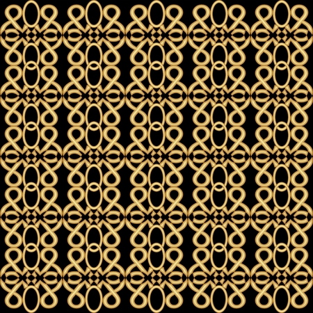 nostalgic: Golden grid in antique design. Symmetric vintage golden patterns on black background. Nostalgic art deco style.