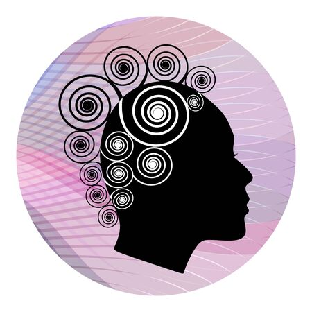 perfil de mujer rostro: Perfil de la cabeza de la mujer con el peinado extravagante espiral sobre fondo rosa ondulada. Blanco y negro estilizaci�n. Perfil de la cara femenina silueta. Emblema de boutique o sal�n de la moda.