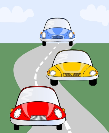 auto racing: Red, yellow and blue cute car on road. Vector illustration suitable for children or different activities in transport, auto racing, traffic, recreation