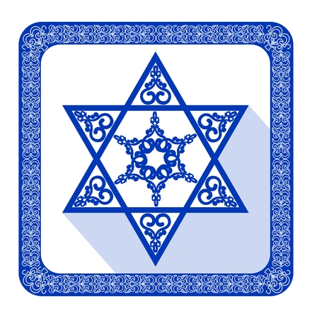 yiddish: Star of David decoration tile with geometric vintage yew ornament in blue design . Religious motif in modern flat design with long shadow in israel national colors. Illustration