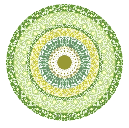 obtaining: Green mandala for energy and power obtaining. Rich patterned mandala for meditation training. Filigree lace patterns on green circle background.