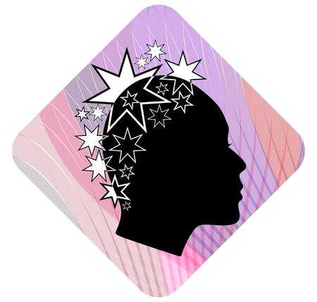rostro de mujer de perfil: Perfil de la cabeza de la mujer con el peinado extravagante estrella de dibujos sobre fondo rosa ondulada. Blanco y negro estilizaci�n. Perfil de la cara femenina silueta. Emblema de boutique o sal�n de la moda. 10 EPS vector.