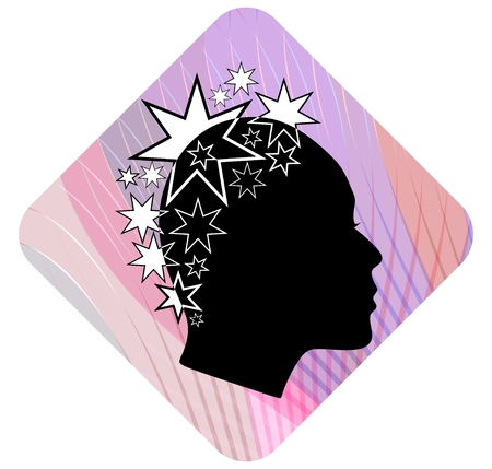 extravagant: Woman head profile with extravagant star patterned hairstyle on pink wavy background. Black and white stylization. Female face profile silhouette. Emblem for boutique or fashion salon. EPS 10 vector. Illustration