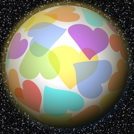 love of planet: Romantic fantasy planet with rainbow heart motif on background with galaxy stars. Symbol of peace, love, happiness, luck, welfare.