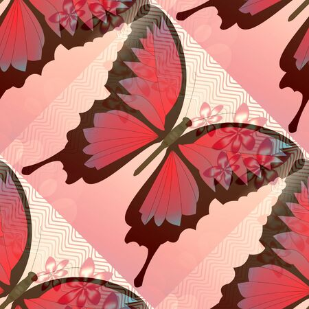 small flower: Romantic pink and red background with blended butterfly and small flower motif