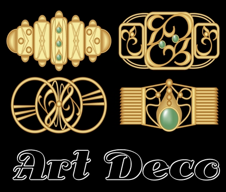 clasp: Vintage hairclip set in golden metal, art deco style. Golden shapes with green gemstone.
