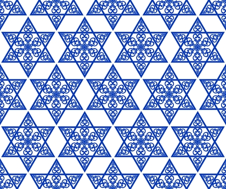 hannukah: Star of David decoration with geometric tile vintage yew ornament in blue design. Religious motif seamless background.