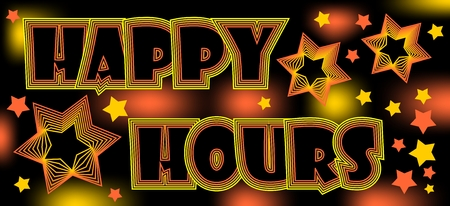 happy hours: Happy hours, crazy spectacular billboard for restaurant or disco, drinks at a discount Illustration