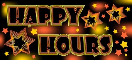 happy hours: Happy hours, panneau spectaculaire fou pour restaurant ou une discoth�que, des boissons au rabais