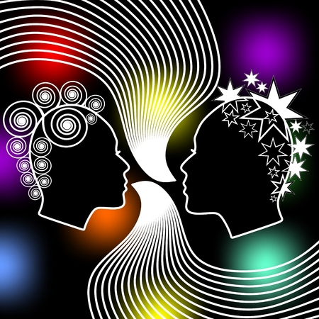 extravagant: Speaking women, two female face profiles with extravagant hairstyle on black background with colored bokeh lights.