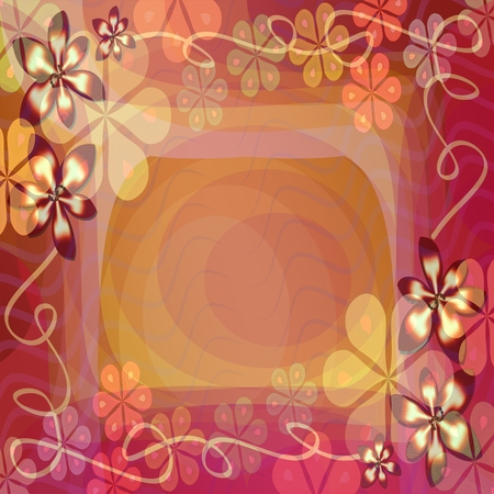 an announcement message: Pretty fantasy background with blending floral patterns. Abstract background tile in red and yellow. Place for own text - invitation, announcement, message