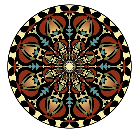 equanimity: Mandala in nostalgic colors for the acquisition of calm and equanimity. A symmetrical pattern in eight planes  is a good complement for meditation training