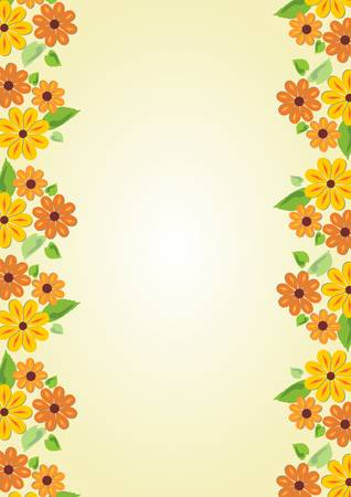oriented: Beauty cheerful yellow background with floral motif on the sides. Vertical oriented template with place for own message on old yellowed paper area