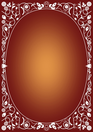 annoucement: Vintage frame background with white retro patterns on gradient background. Ellipse place for own text - invitation, offer, announcement, template with vertical orientation