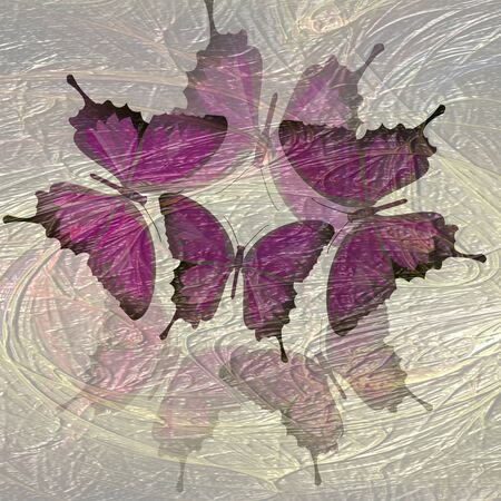 blending: Transparent composition with butterfly motif blending fractal. Purple butterflies on messy fractal background. Computer-generated image resembling an oil painting technique