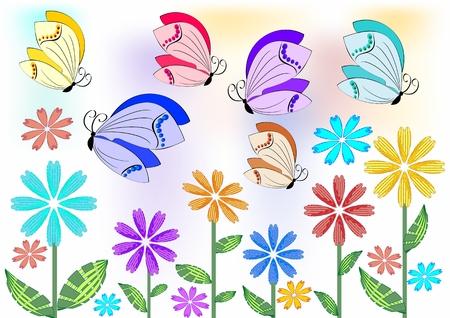 garden design: Farfalle Allegro colorati che volano sopra i fiori sul prato o in giardino. Elemento di design per _ACTIVITES_ENVIRONS giardino, primavera pubblicit�. Buon argomento per un buon umore