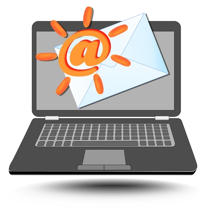 mailing: Laptop with at sign stylized as sun and mailing envelope. Emblem for mail services and internet communication.