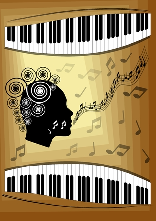 vocal: Musical theme with piano keyboard and silhouette face profile of singing woman. Decorative design element for an invitation or leaflet to vocal music concert jazz or classical music