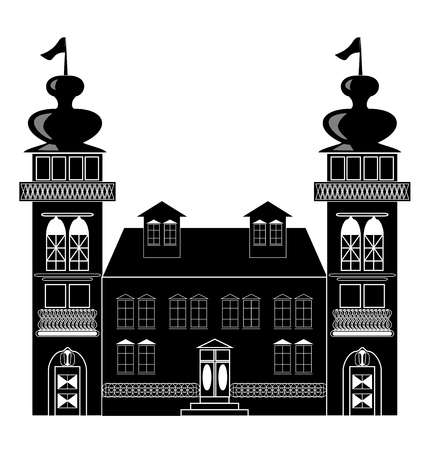 renaissance: Silhouette of a castle with two towers in baroque or renaissance style in white and black design