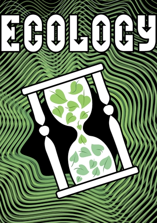 filled: Environmental theme with the motif of an hourglass filled with green leaves. Inscription ecology used futuristic font with arrow elements. Useful as emblem for ecology activities, leaflet, education, Illustration